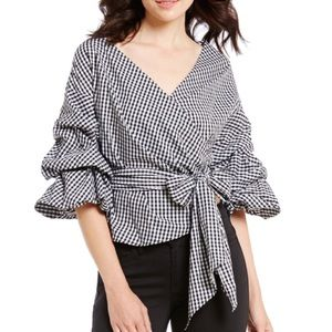 Gianni Bini Gingham Tiered Ruched Sleeve Wrap Top